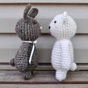 crochet bear and bunny duo